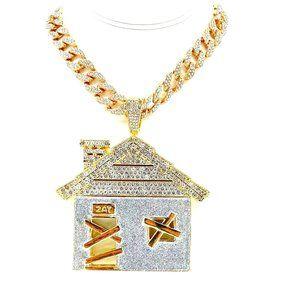 "Trap House Pendant + 24"" Iced 15mm Cuban Chain"